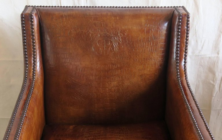 Deco Embossed Faux Crocodile Leather Chairs, Pair8
