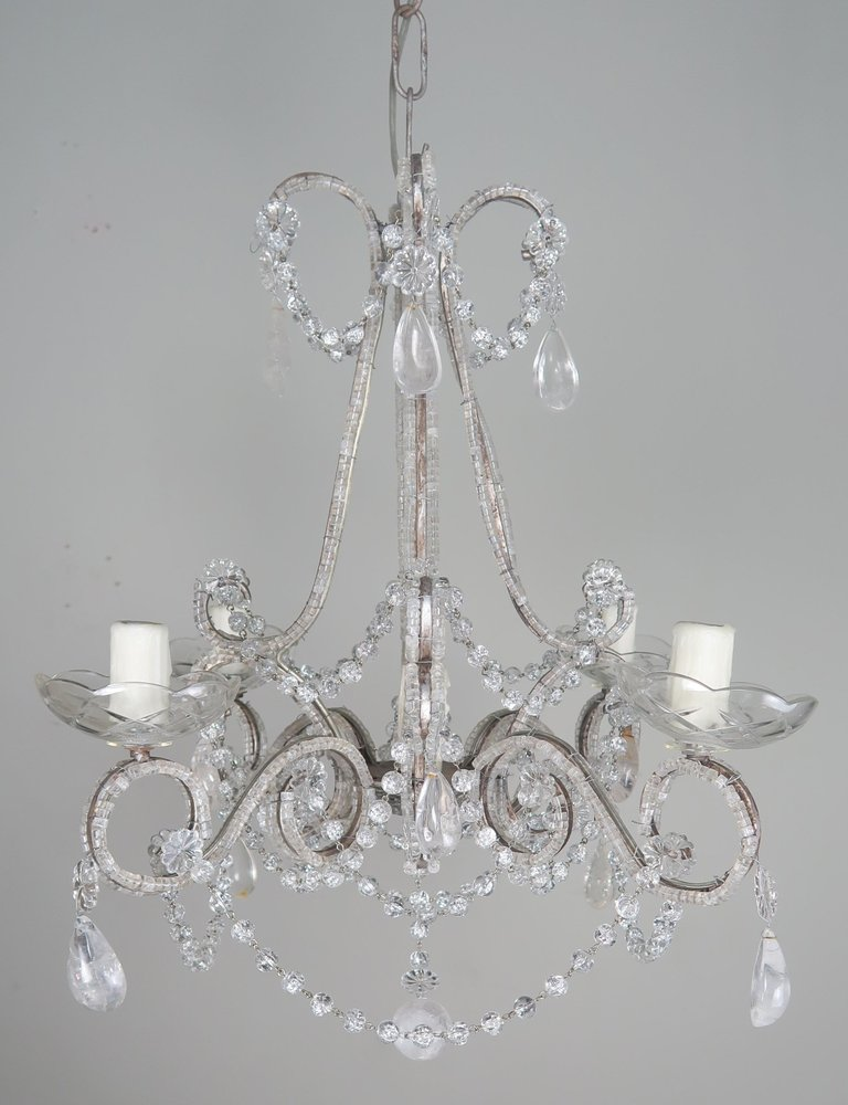 Five-Light French Rock Crystal Chandelier, circa 1930s1