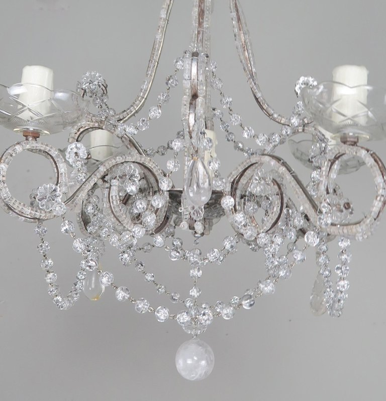 Five-Light French Rock Crystal Chandelier, circa 1930s2