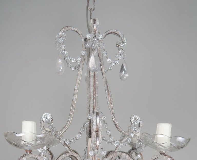 Five-Light French Rock Crystal Chandelier, circa 1930s3