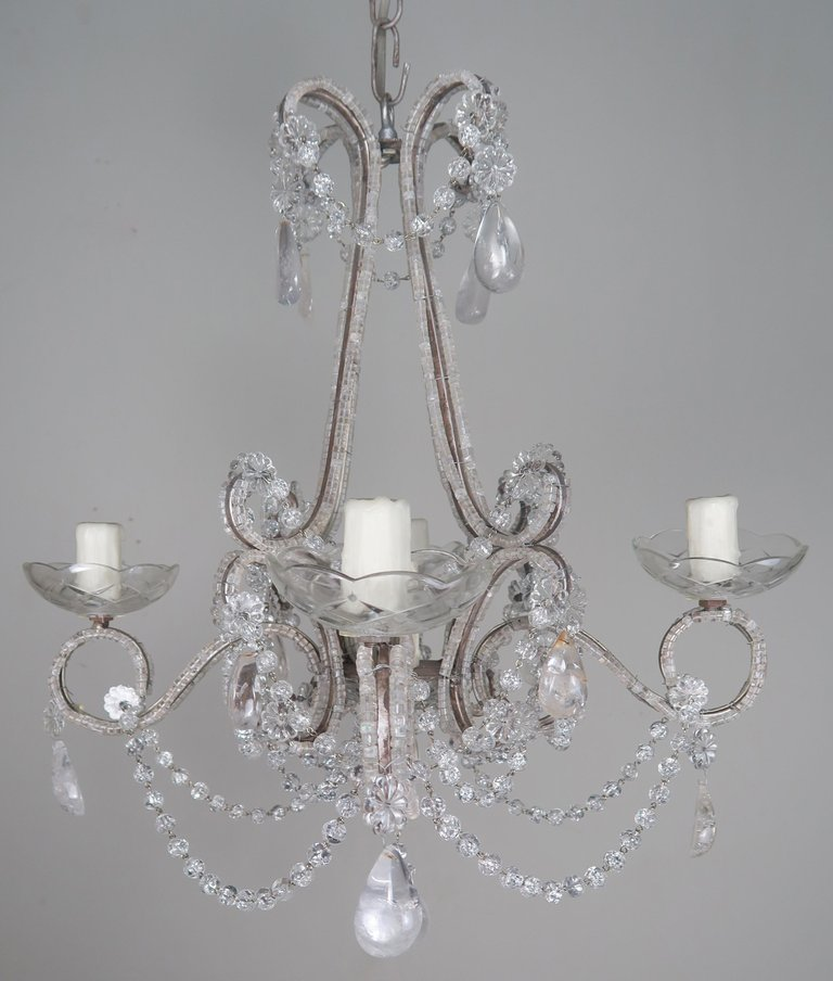 Five-Light French Rock Crystal Chandelier, circa 1930s4