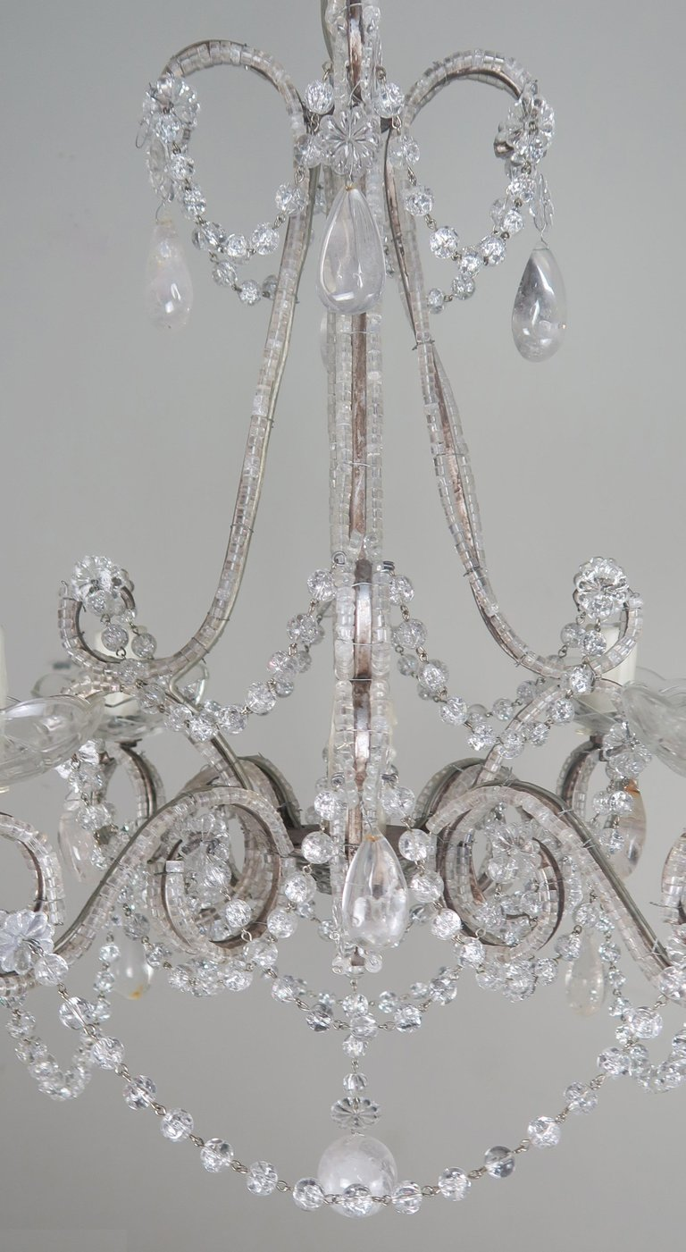 Five-Light French Rock Crystal Chandelier, circa 1930s5