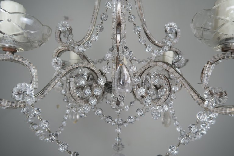 Five-Light French Rock Crystal Chandelier, circa 1930s6