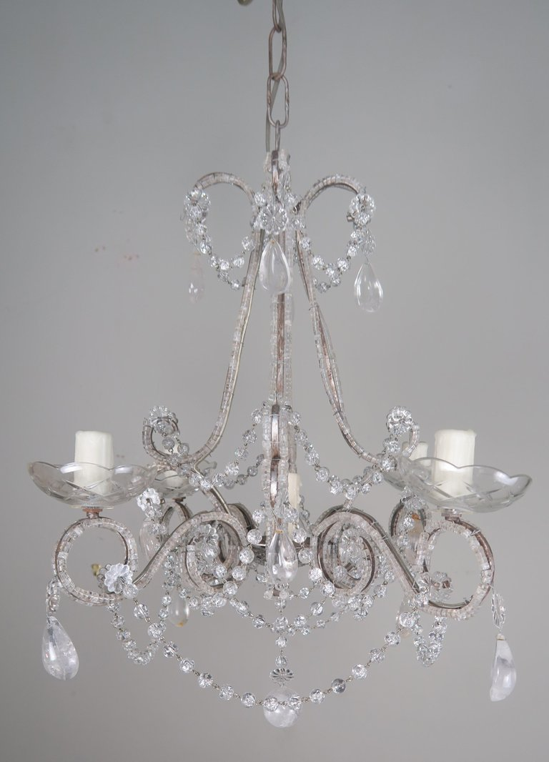 Five-Light French Rock Crystal Chandelier, circa 1930s7