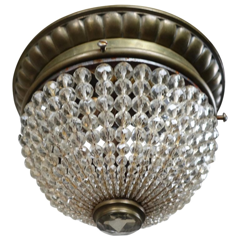 French Crystal Beaded Ceiling Fixture, circa 1920s