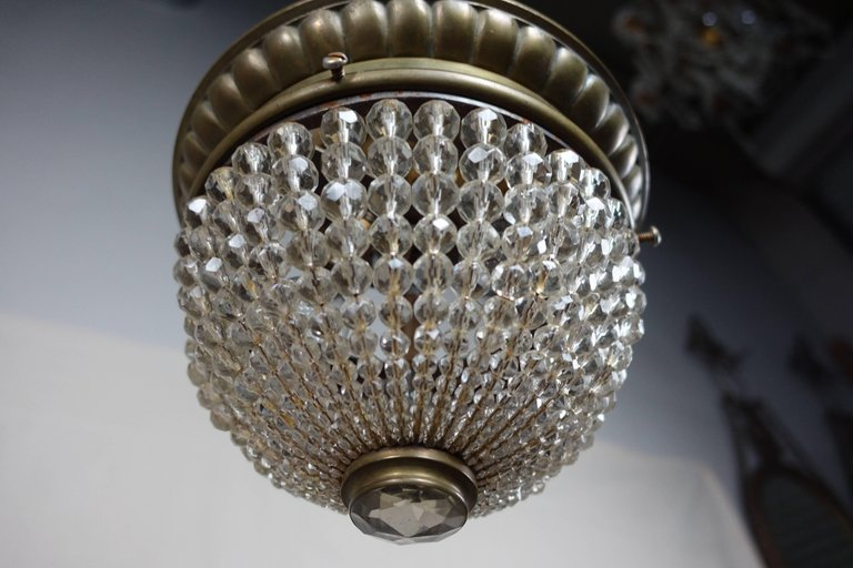 French Crystal Beaded Ceiling Fixture, circa 1920s2