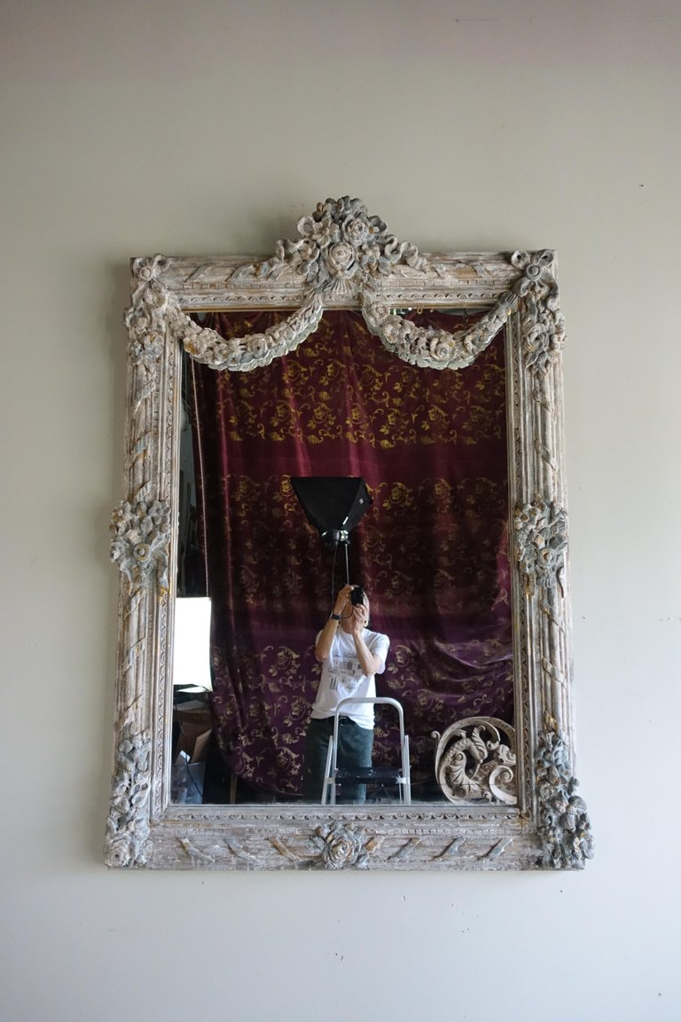 French Louis XV Rococo Style Painted Mirror with Garlands 1