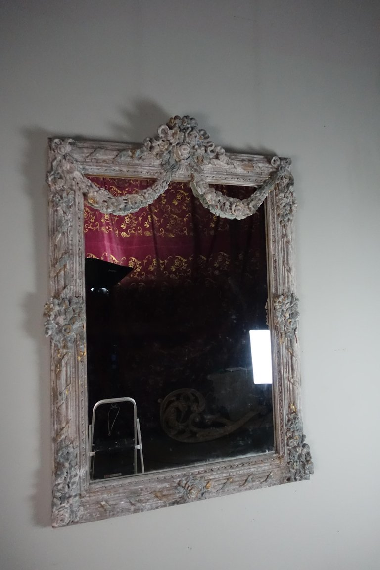 French Louis XV Rococo Style Painted Mirror with Garlands 2