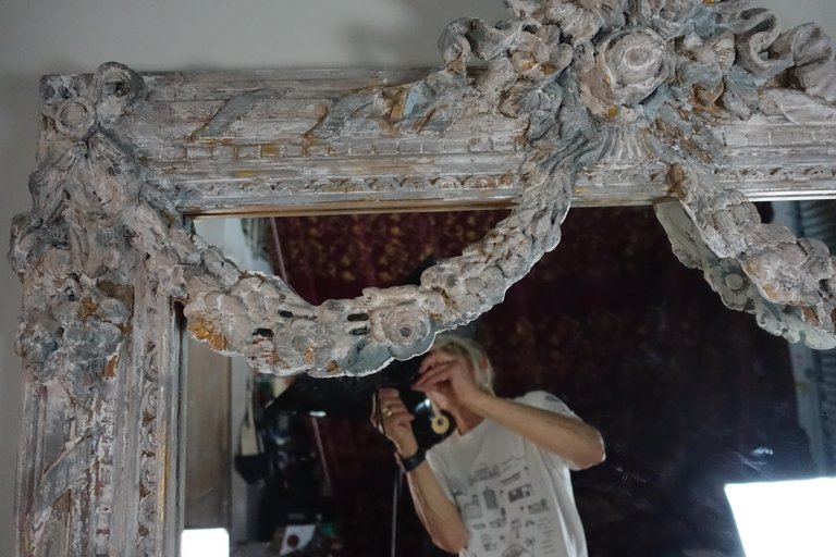 French Louis XV Rococo Style Painted Mirror with Garlands 6