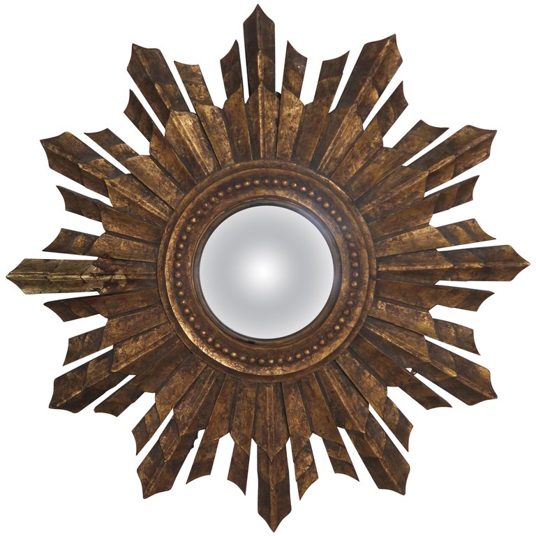 Italian Gilt Wood Convex Sunburst Mirror