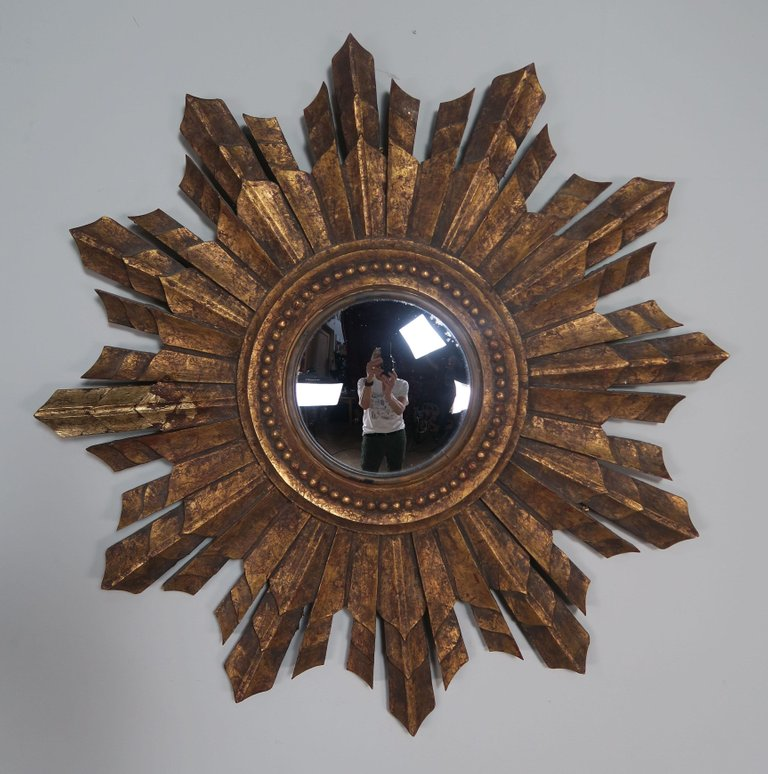 Italian Gilt Wood Convex Sunburst Mirror1