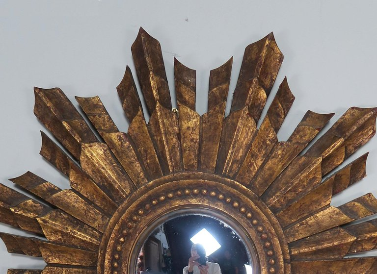 Italian Gilt Wood Convex Sunburst Mirror2