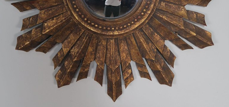 Italian Gilt Wood Convex Sunburst Mirror3