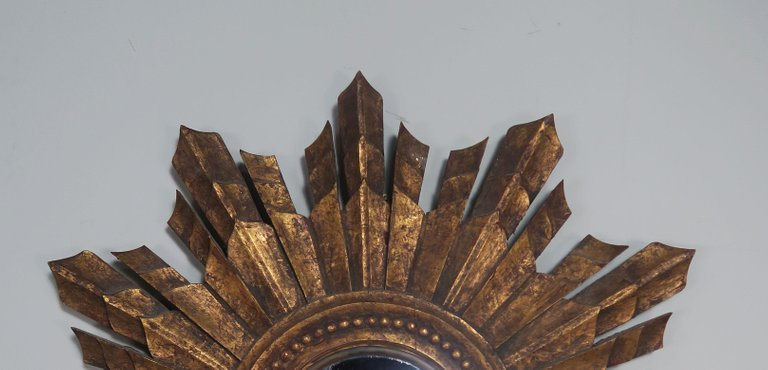 Italian Gilt Wood Convex Sunburst Mirror5
