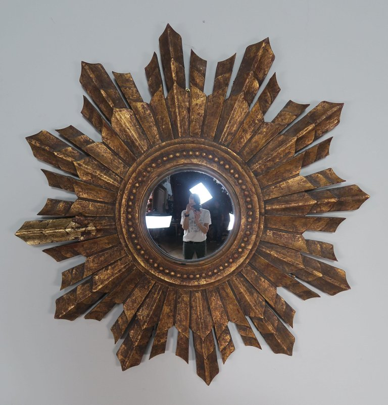 Italian Gilt Wood Convex Sunburst Mirror6