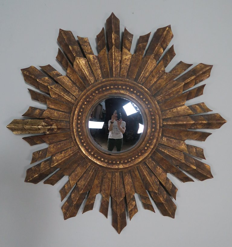 Italian Gilt Wood Convex Sunburst Mirror8