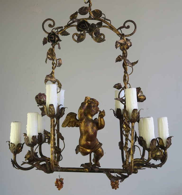 Italian Gilt Wood and Metal Cherub Chandelier, circa 1900 2