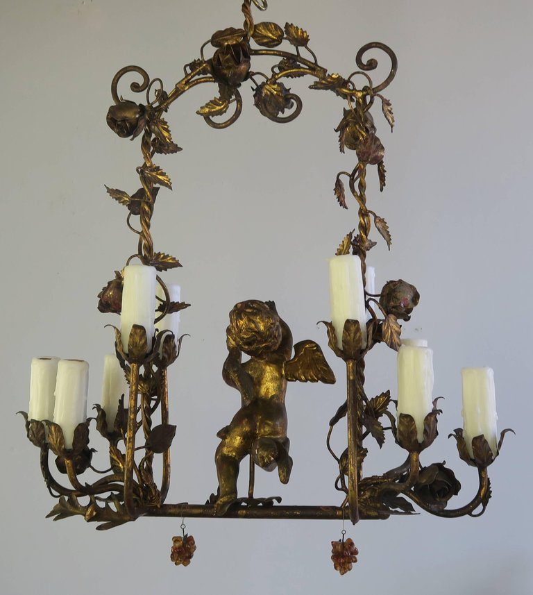 Italian Gilt Wood and Metal Cherub Chandelier, circa 1900 3