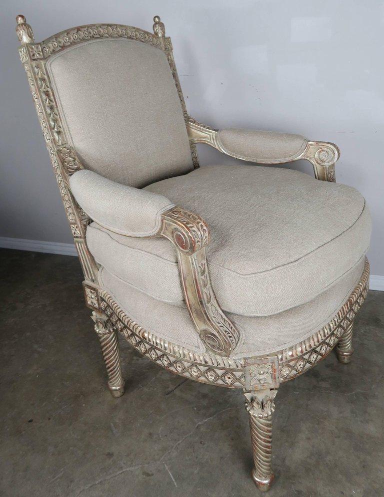 Italian Neoclassical Style Silver Gilt Armchairs, Pair1