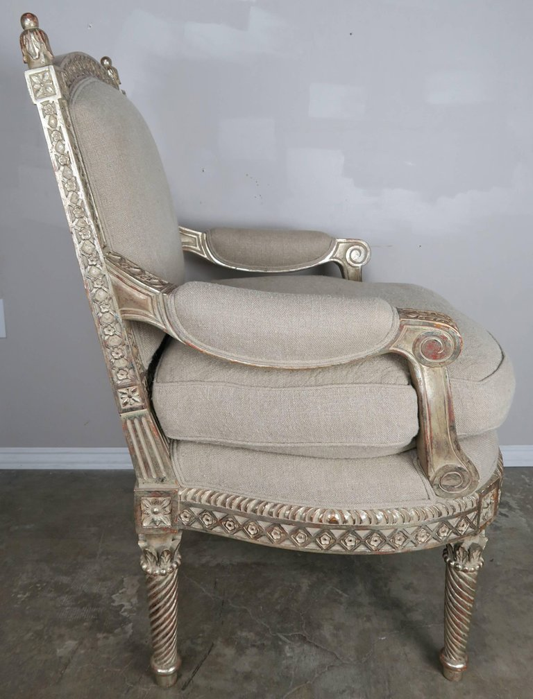 Italian Neoclassical Style Silver Gilt Armchairs, Pair2