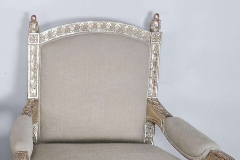 Italian Neoclassical Style Silver Gilt Armchairs, Pair3