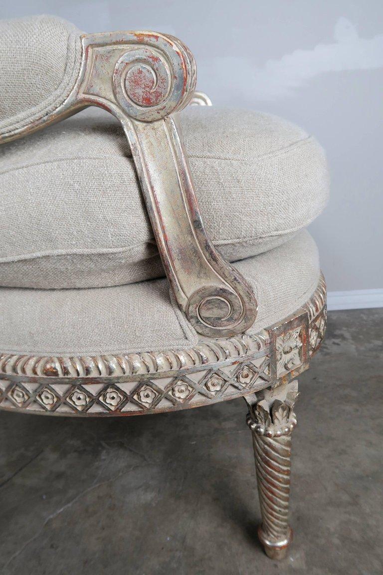 Italian Neoclassical Style Silver Gilt Armchairs, Pair4