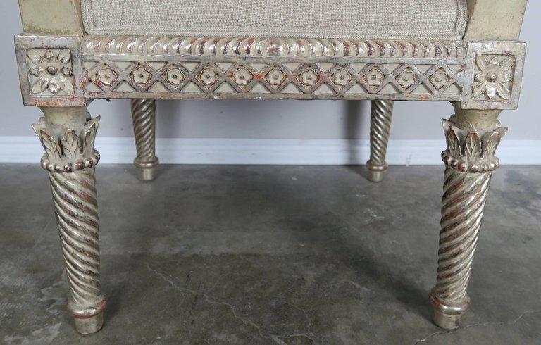 Italian Neoclassical Style Silver Gilt Armchairs, Pair5