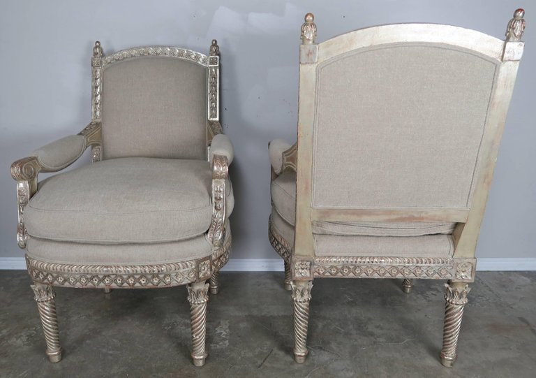 Italian Neoclassical Style Silver Gilt Armchairs, Pair7
