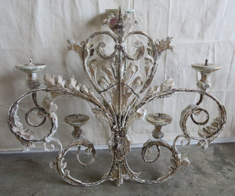 Italian Painted Iron and Wood Acanthus Leaf Wall Decor10