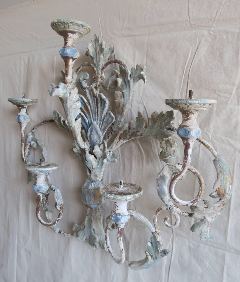Italian Painted Iron and Wood Acanthus Leaf Wall Decor2
