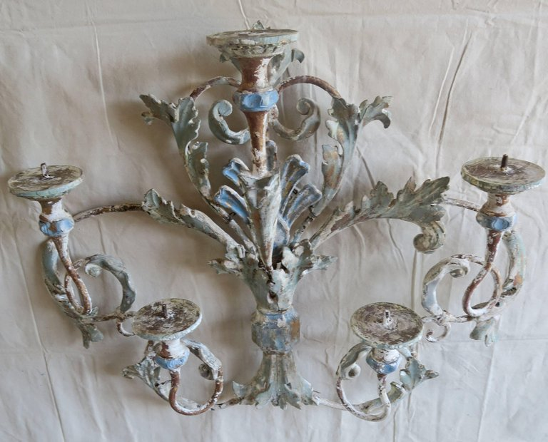 Italian Painted Iron and Wood Acanthus Leaf Wall Decor3