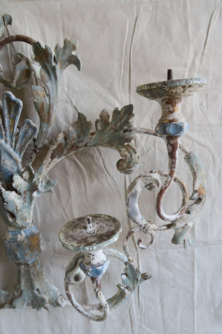 Italian Painted Iron and Wood Acanthus Leaf Wall Decor6