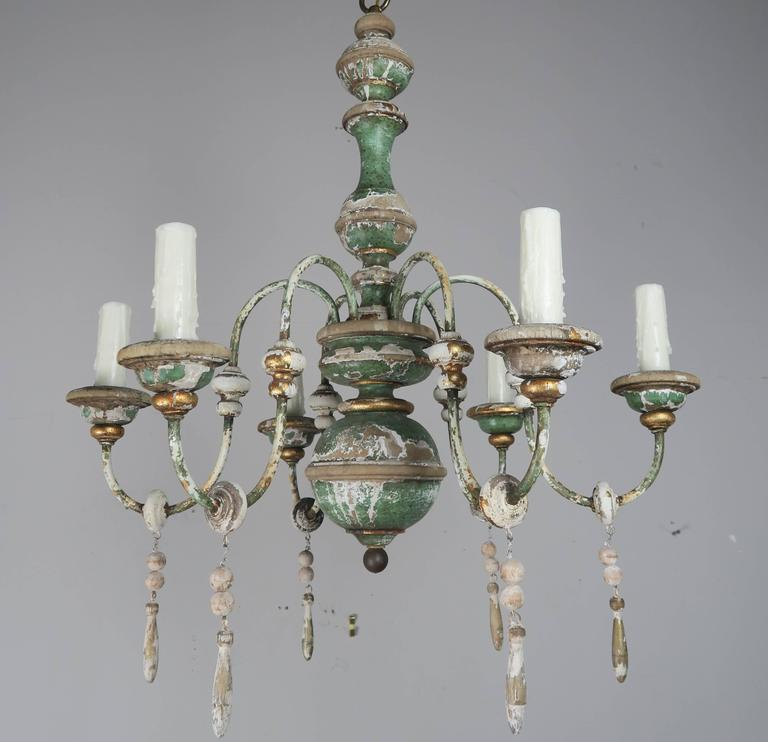 Italian Painted and Parcel-Gilt Chandelier with Wood Drops1