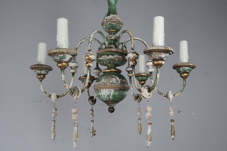 Italian Painted and Parcel-Gilt Chandelier with Wood Drops2