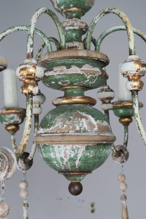 Italian Painted and Parcel-Gilt Chandelier with Wood Drops3