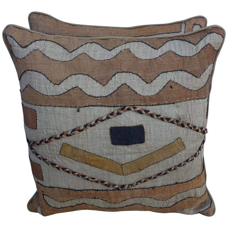 Pair of African Kuba Cloth Pillows