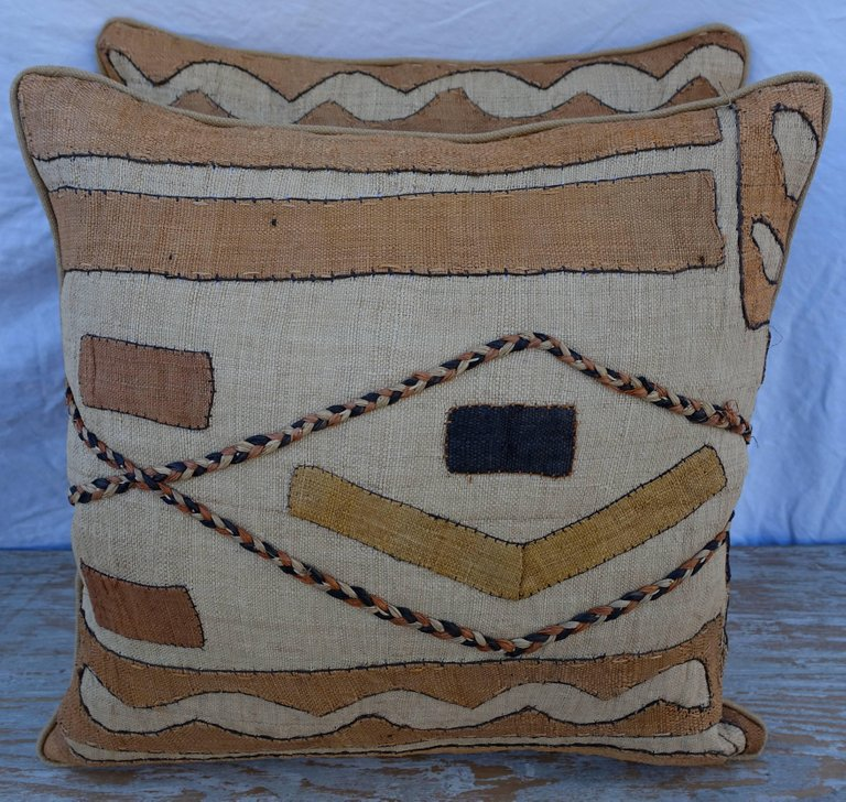 Pair of African Kuba Cloth Pillows1