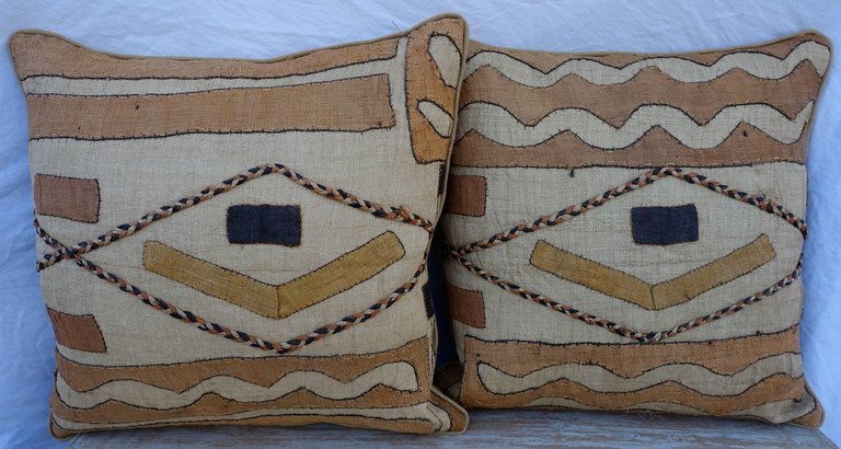 Pair of African Kuba Cloth Pillows2