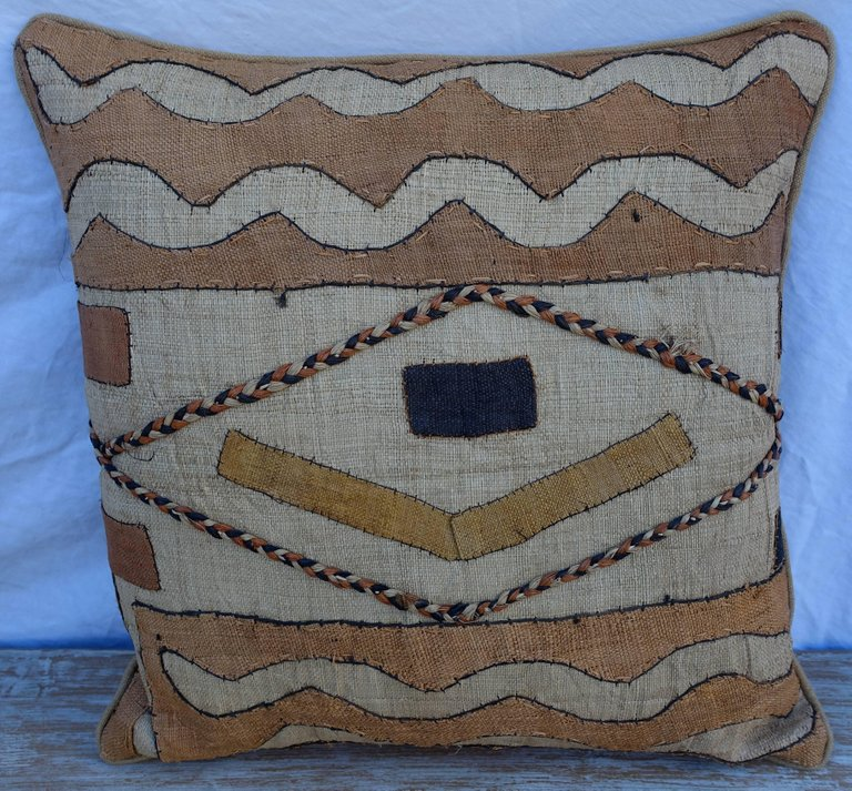 Pair of African Kuba Cloth Pillows3