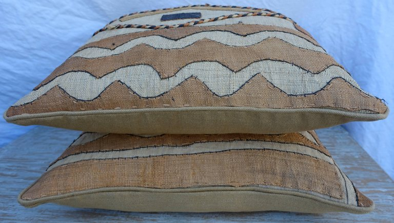 Pair of African Kuba Cloth Pillows7