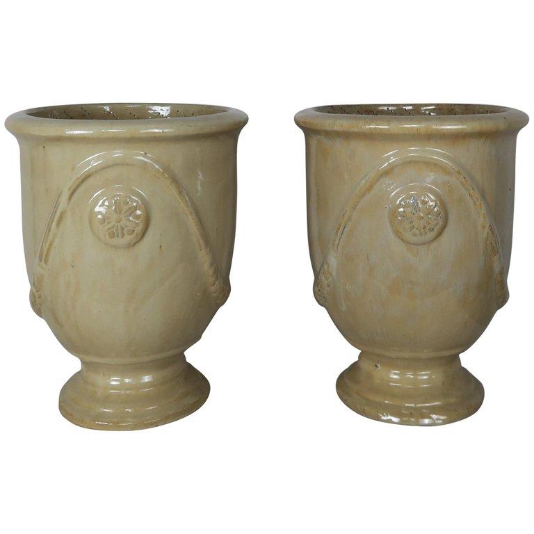 Pair of French Terra Cotta Glazed Pots