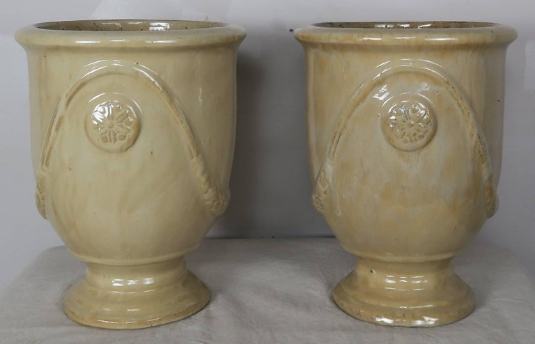 Pair of French Terra Cotta Glazed Pots2