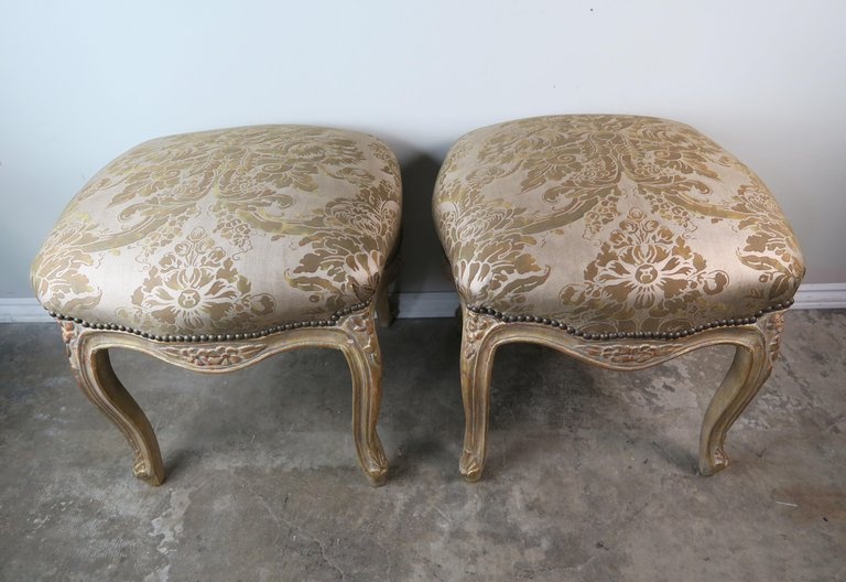 Pair of Giltwood Fortuny Upholstered French Benches1