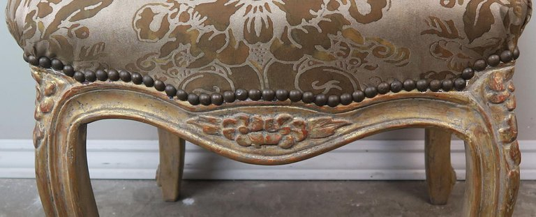 Pair of Giltwood Fortuny Upholstered French Benches10