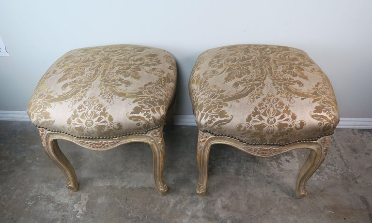 Pair of Giltwood Fortuny Upholstered French Benches5