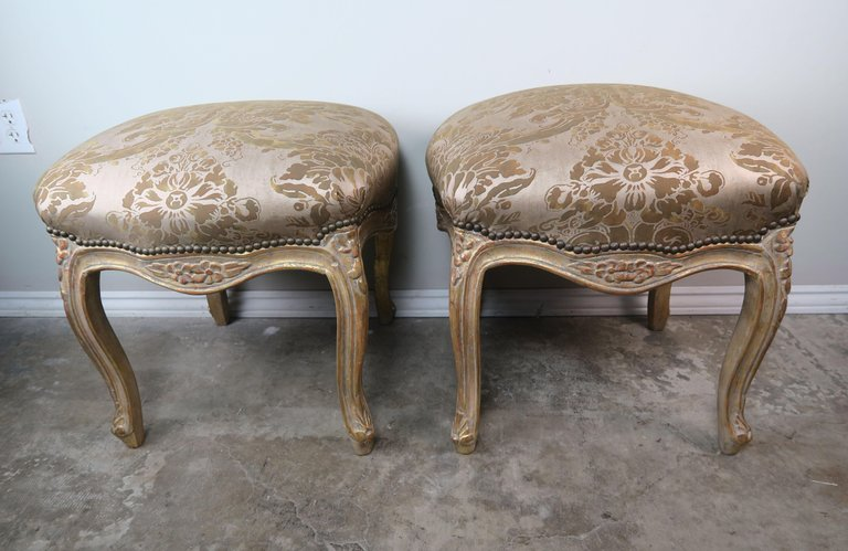 Pair of Giltwood Fortuny Upholstered French Benches6