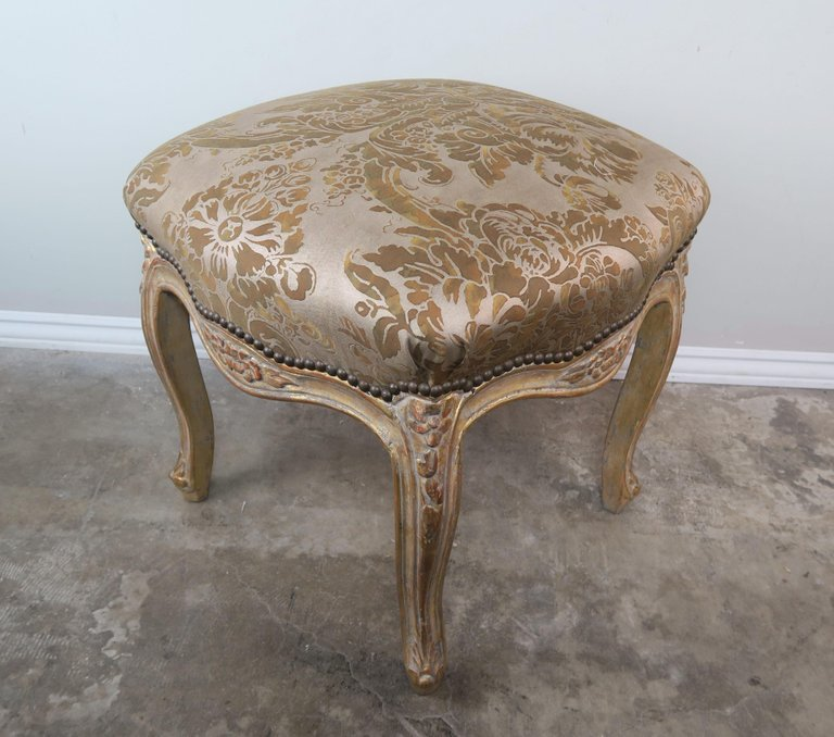 Pair of Giltwood Fortuny Upholstered French Benches8