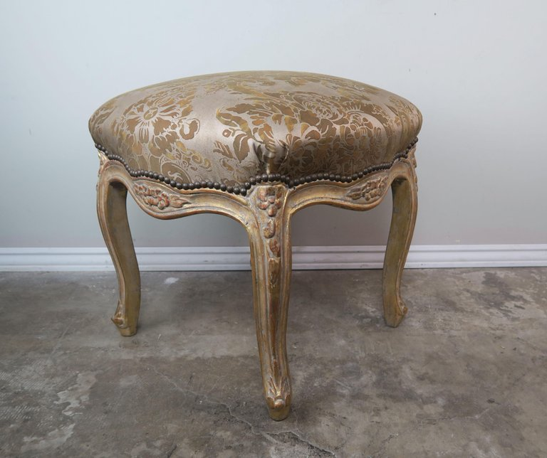 Pair of Giltwood Fortuny Upholstered French Benches9