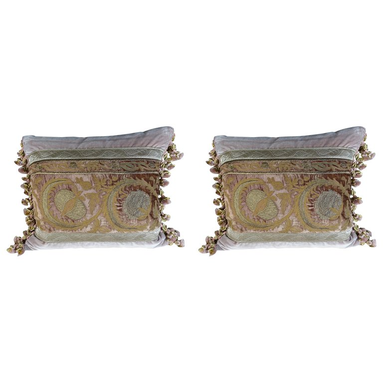 Antique Metallic Embroidered Textile Pillows, Pair $2,800