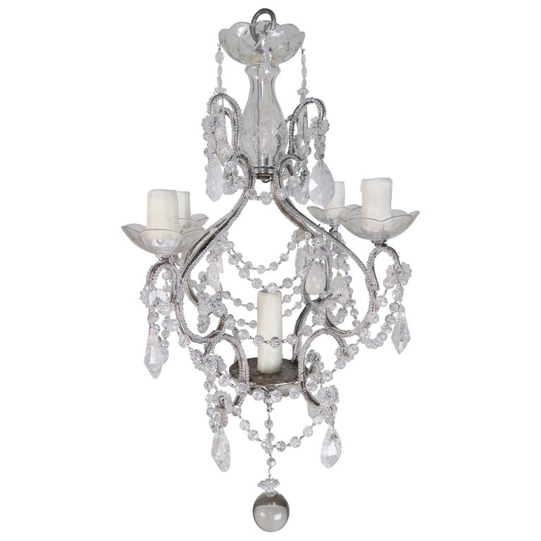 Five-Light Rock Crystal Beaded Chandelier